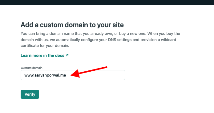 type a domain name and click verify